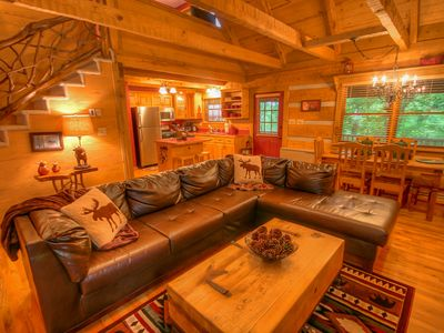 Photo for Cute 2BR Cabin, Centrally Located to Attractions, Wood Burning Fireplace, Fire Pit, Gas Grill