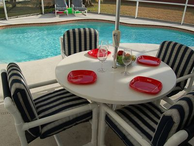 Photo for 3bedroom home private pool w/free solar heating near Disney I4 & shops