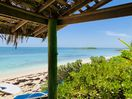 Beautiful view from our shaded beach cabana to Tear Coat Cay.