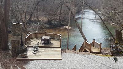 Photo for WATERSIDE CABIN: privacy, RIVER, hottub, near wineries, weddings & more