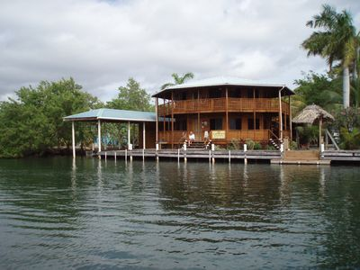 Photo for Unique Belizean hardwood home. 80ft of waterfront property.