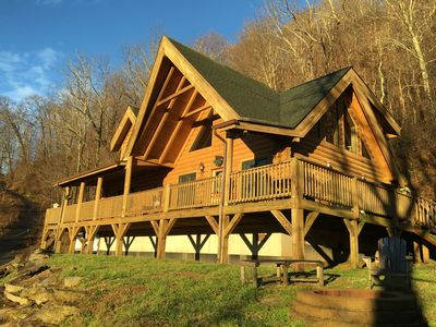 Photo for REAL LOG CABIN!  2 King size masters, Hot Tub, WiFi, VIEW, paved road/driveway