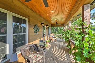 Admire scenic hilltop views from the large covered patio.