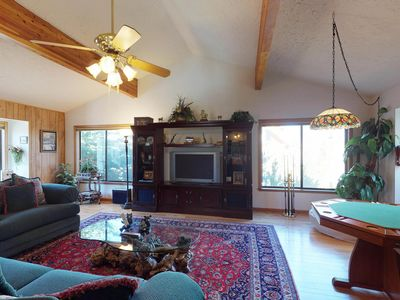Photo for Spacious, beautifully appointed home with private hot tub.  Walk to the lakes!