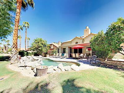 Backyard - Welcome to La Quinta! Spend relaxing afternoons around your mountain-backed private pool and spa.