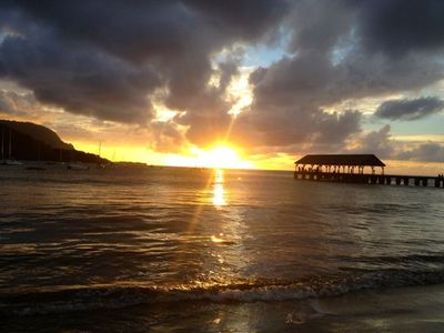 Hanalei sunset at the pier.