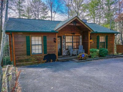 Photo for One bedroom log cabin less than 4 min from parkway-FREE WIFI, HOT TUB, cable tv