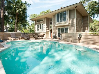 Photo for New Listing! Sea Pines Sanctuary w/ Private Deck & Pool Oasis, Walk to Beach