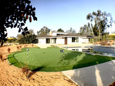 Putting green and pool