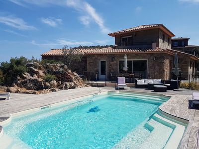 Photo for Palombaggia Beautiful new 3 bedroom villa, heated pool, Porto Vecchio