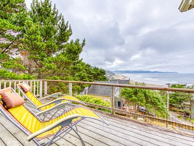 Photo for Hillside home w/ exceptional ocean view & deck - near the beach, 2 dogs OK!