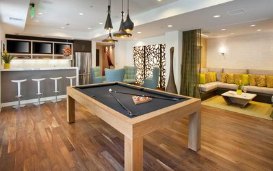 Game room with pool table , lounge, TV.