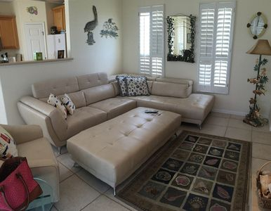 Plenty of space in the living room with adjoining deck!