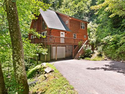 Photo for NEW LISTING! Luxurious cabin w/private hot tub and great views - dogs allowed!