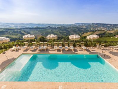 Photo for Villa Torre with pool and see view at the slopes of Ripatransone, in the Rosso Piceno wine territory
