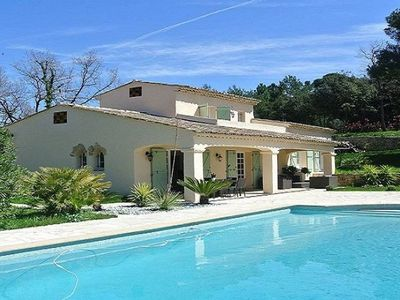 Photo for Contemporary villa in the heights of Cannes with a heated pool and a p