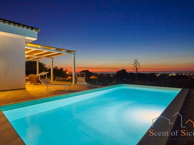 Photo for Stylish pool villa with a view on the Aegadian islands.