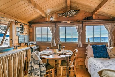 View the snow capped mountains across Cook Inlet while enjoying your meals!