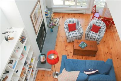 family room with valuted ceiling, view from second floor