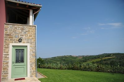 The stunning view of historic Buje from the villa