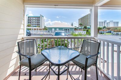 Relax after a day at the beach on this patio