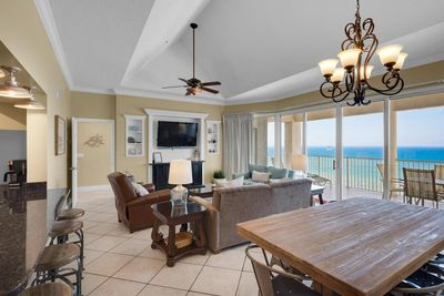Vaulted ceilings. Open concept floor plan. Access to super-sized balcony.