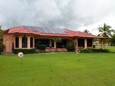 View of the solar array and rear of house from the ocean side.