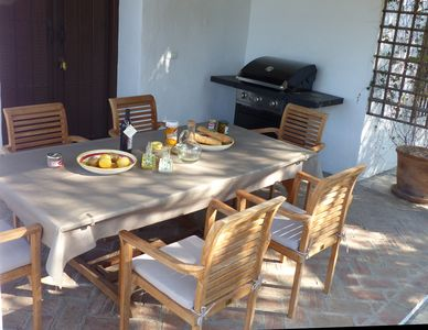 You can find our BBQ on the covered terrace.