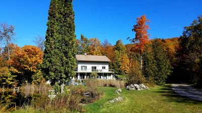 Our home is nestled into the woods providing a peaceful, secluded retreat.