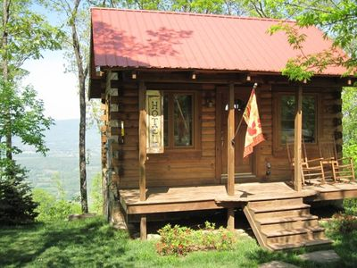 Photo for Log Cabin in the Clouds with a Million Dollar View. Hot Tub! Close to Downtown!