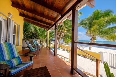 Casa De Bonita gorgeous private home sits on the beach with view of the Caribbean sea.