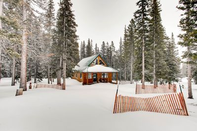 The cabin sits on a large private acreage and in the winter it is a winter wonderland.