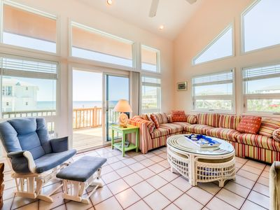 Photo for Gulf view home across the street from the beach - walk to shops/restaurants!