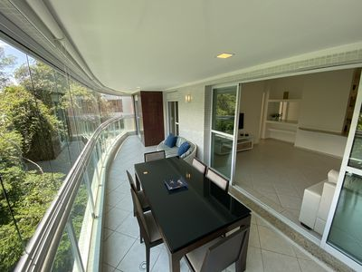 Photo for Apartment one block from the beach 3 bedrooms w / air, pool and sauna