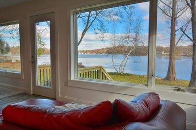 Comfy chaise lounge for enjoying morning coffee with spectacular view.