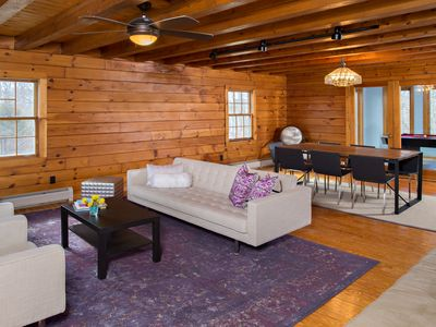 Photo for Family Friendly Modern Log Cabin Style 4+ Bedroom on 5 Acres of Rolling Hills