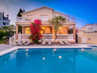Photo for Las Chapas Playa beachfront villa with private pool, terraces and pergola