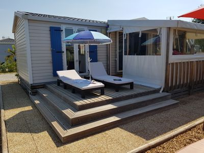 """Photo for Mobile home 4 people upscale """"Pins Maritimes"""" 4 * 300 m from the beach"""