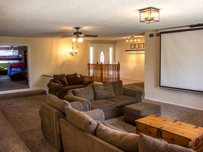 "Photo for Game Room-120"" Movie Screen-  Sleeps 30+ -Parks & Lakes-Riding Trails!"