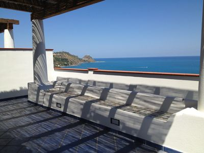 Photo for New apartments in a residence overlooking the sea and Aeolian Islands