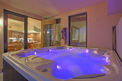 Private 8 person hot tub on covered balcony (new as of May 2016)