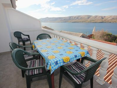 Photo for Two bedroom apartment with terrace and sea view Zubovići, Pag (A-9365-b)