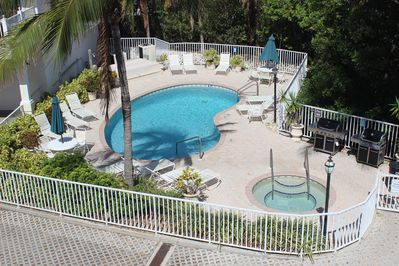 view of pool/spa/BBQ area from our front deck