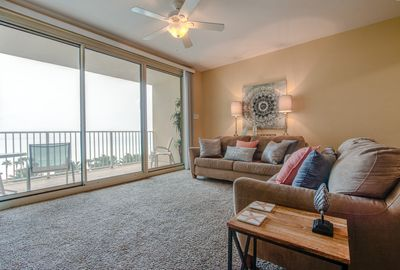Gulf Front Living Area with Sleeper Sofa