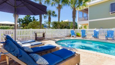 Photo for Gulf View - 30A Private Heated Pool, 3 min walk to the beach. No roads to cross.