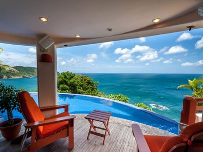 Photo for Cliffside Villa Overlooking Ocean, Pool & Cook - Close to Town
