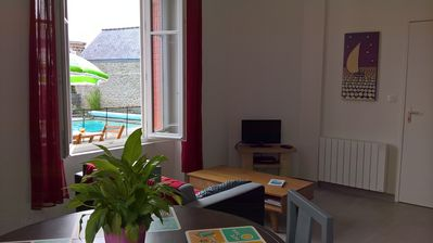 Photo for Beautiful apartment with swimming pool 50 M from the beach
