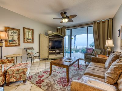 Photo for Spacious beach condo w/shared hot tub & pool - walk to shopping, dining & more!