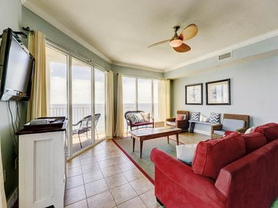 Photo for Stunning corner condo! Incredible sunrise views! Fitness center on-site! Free beach service!