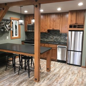 Large kitchen with island that seats 4